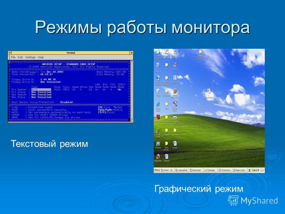 Режимы работы монитора Текстовый режим Графический режим