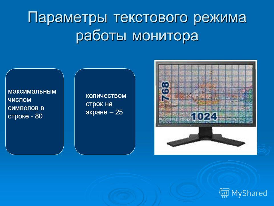 Параметры текстового режима работы монитора максимальным числом символов в строке - 80 количеством строк на экране – 25