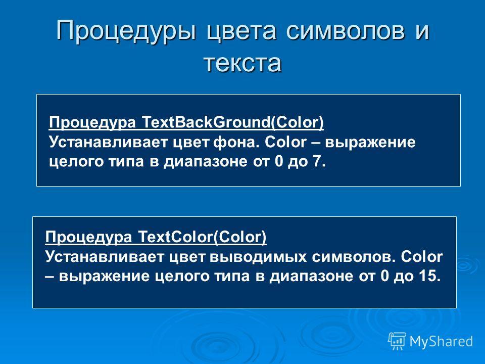 Процедуры цвета символов и текста Процедура TextBackGround(Color) Устанавливает цвет фона. Color – выражение целого типа в диапазоне от 0 до 7. Процедура TextColor(Color) Устанавливает цвет выводимых символов. Color – выражение целого типа в диапазон