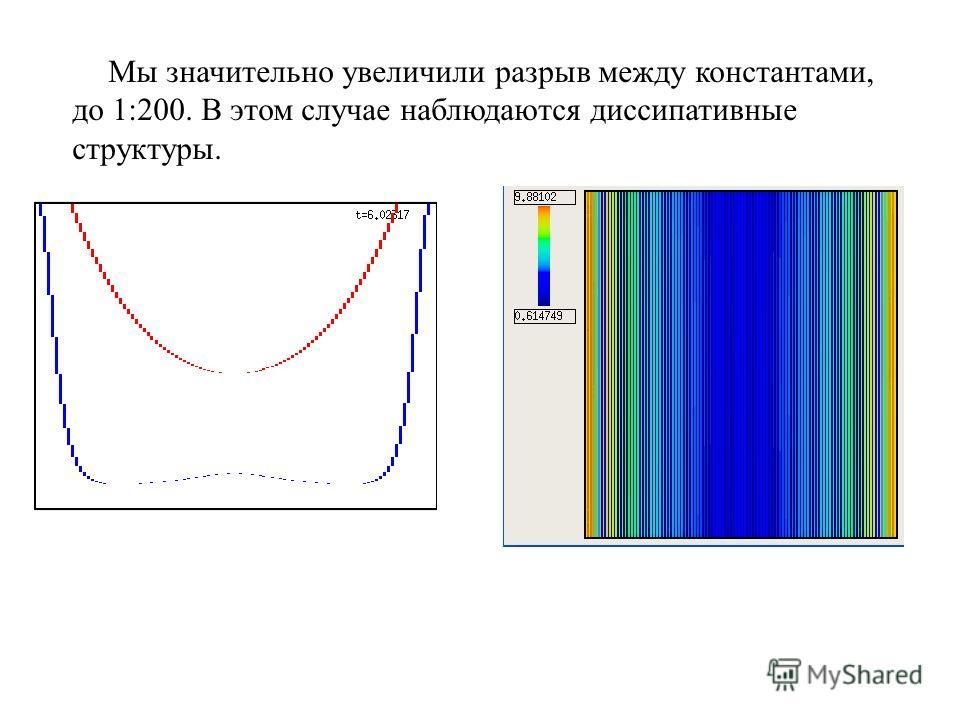 Мы значительно увеличили разрыв между константами, до 1:200. В этом случае наблюдаются диссипативные структуры.