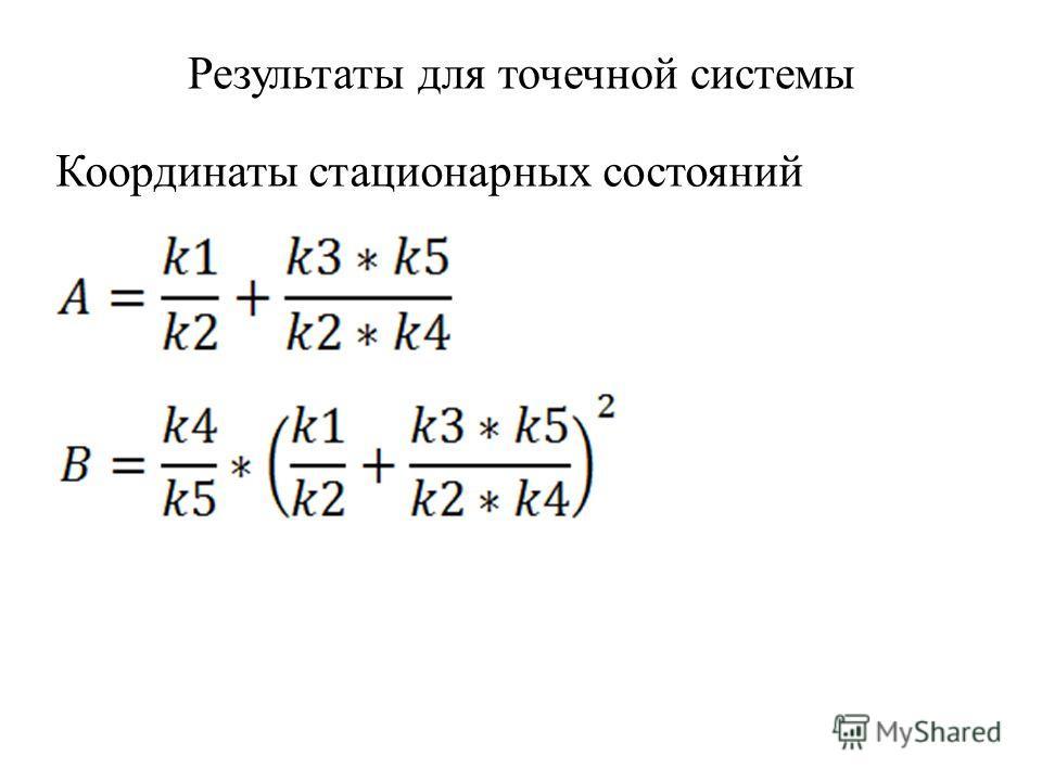 Результаты для точечной системы Координаты стационарных состояний