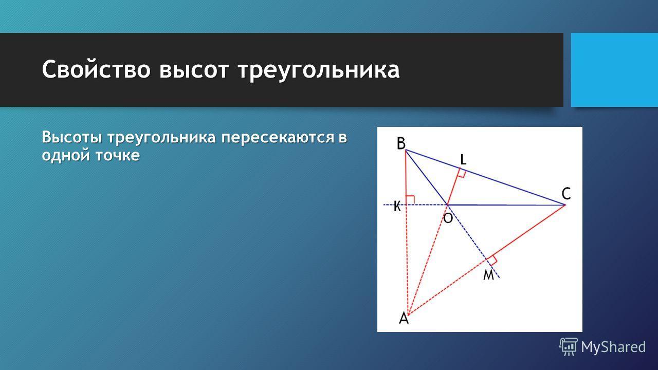 Свойство высот треугольника Высоты треугольника пересекаются в одной точке