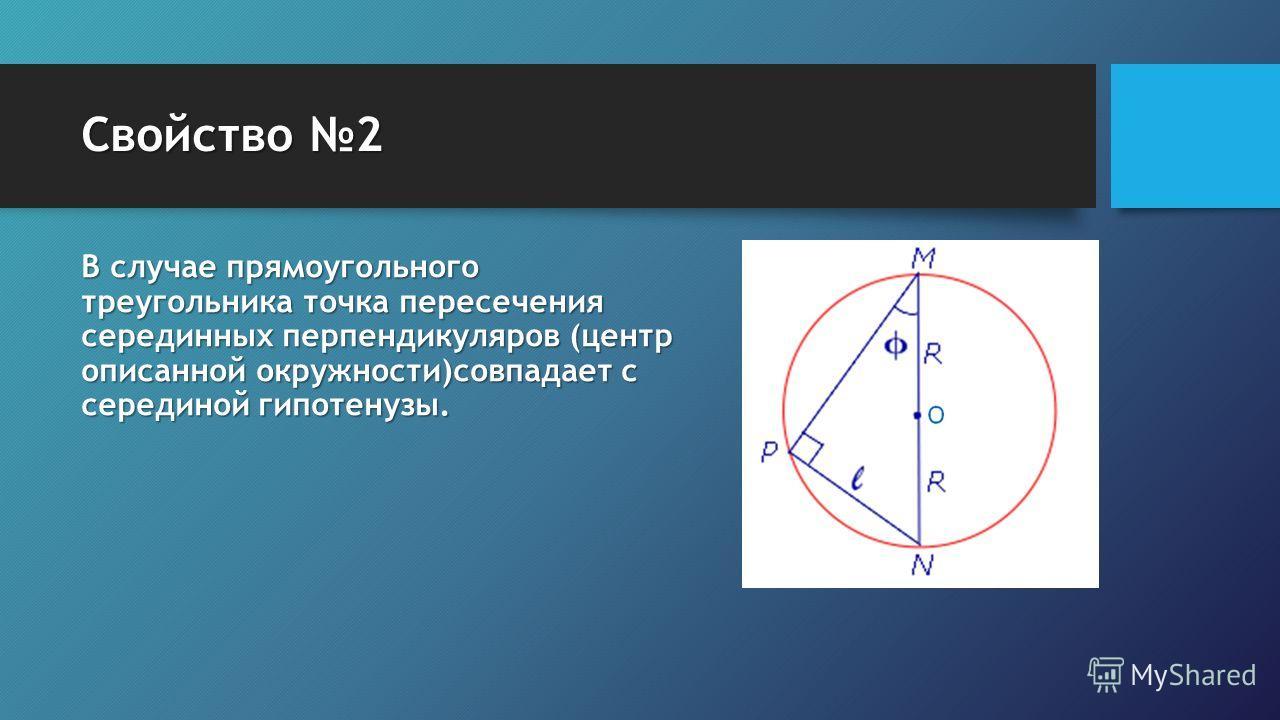 Свойство 2 В случае прямоугольного треугольника точка пересечения серединных перпендикуляров (центр описанной окружности)совпадает с серединой гипотенузы.