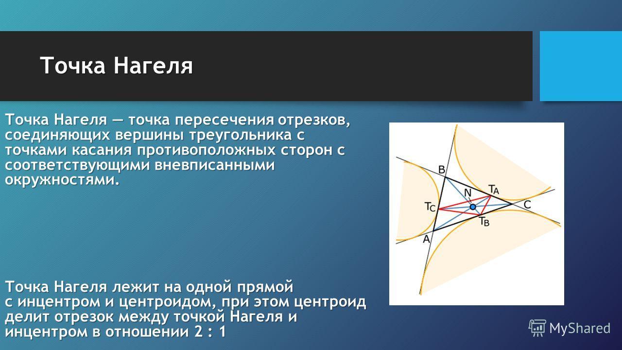 Точка Нагеля Точка Нагеля точка пересечения отрезков, соединяющих вершины треугольника с точками касания противоположных сторон с соответствующими вневписанными окружностями. Точка Нагеля лежит на одной прямой с инцентром и центроидом, при этом центр