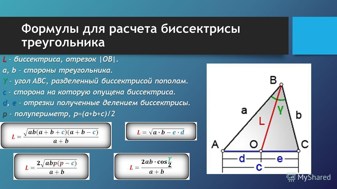 Формулы для расчета биссектрисы треугольника L - биссектриса, отрезок |OB|. a, b - стороны треугольника. Y - угол ABC, разделенный биссектрисой пополам. c - сторона на которую опущена биссектриса. d, e - отрезки полученные делением биссектрисы. p - п