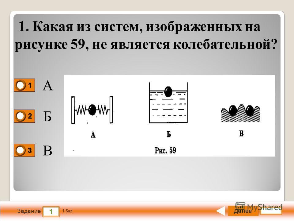Далее 1 Задание 1 бал. 1111 2222 3333 1. Какая из систем, изображенных на рисунке 59, не является колебательной? А Б В