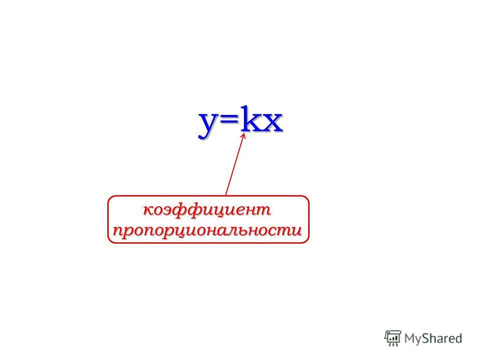 y=kx коэффициент пропорциональности