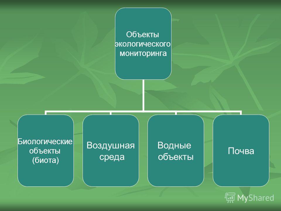 Объекты экологического мониторинга Биологические объекты (биота) Воздушная среда Водные объекты Почва