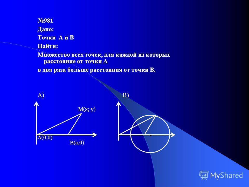 981 Дано: Точки А и В Найти: Множество всех точек, для каждой из которых расстояние от точки А в два раза больше расстояния от точки В. А) В) A(0;0) В(a;0) М(х; у)