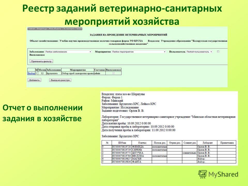 Реестр заданий ветеринарно-санитарных мероприятий хозяйства Отчет о выполнении задания в хозяйстве