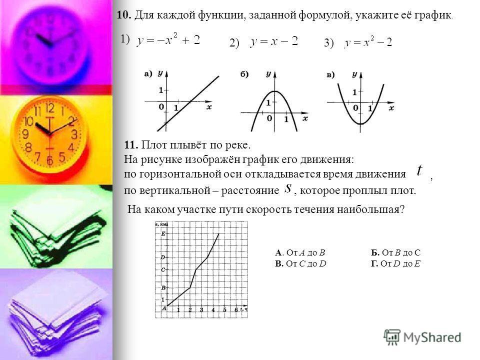 10. Для каждой функции, заданной формулой, укажите её график. 11. Плот плывёт по реке. На рисунке изображён график его движения: по горизонтальной оси откладывается время движения по вертикальной – расстояние На каком участке пути скорость течения на