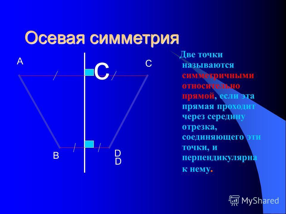 Осевая симметрия Две точки называются симметричными относительно прямой, если эта прямая проходит через середину отрезка, соединяющего эти точки, и перпендикулярна к нему. A B C D D c