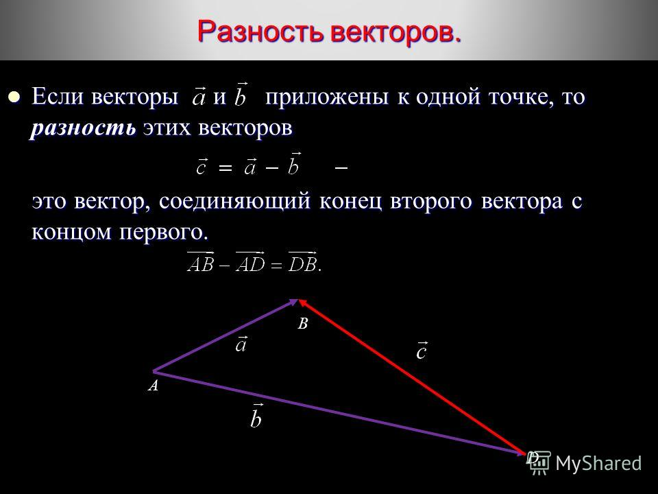 Разность векторов. Если векторы и приложены к одной точке, то разность этих векторов Если векторы и приложены к одной точке, то разность этих векторов это вектор, соединяющий конец второго вектора с концом первого. это вектор, соединяющий конец второ