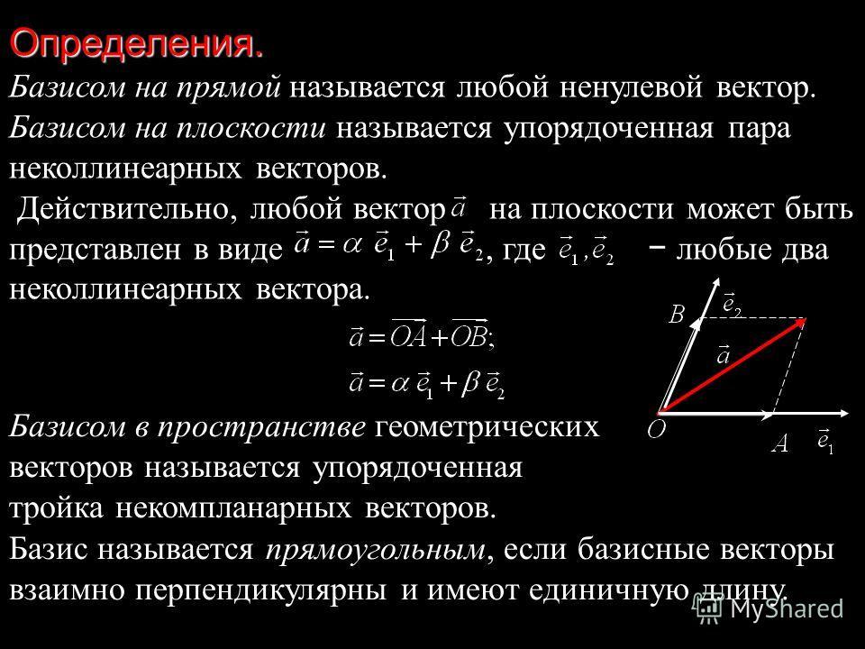 Определения. Базисом на прямой называется любой ненулевой вектор. Базисом на плоскости называется упорядоченная пара неколлинеарных векторов. Действительно, любой вектор на плоскости может быть представлен в виде, где любые два неколлинеарных вектора