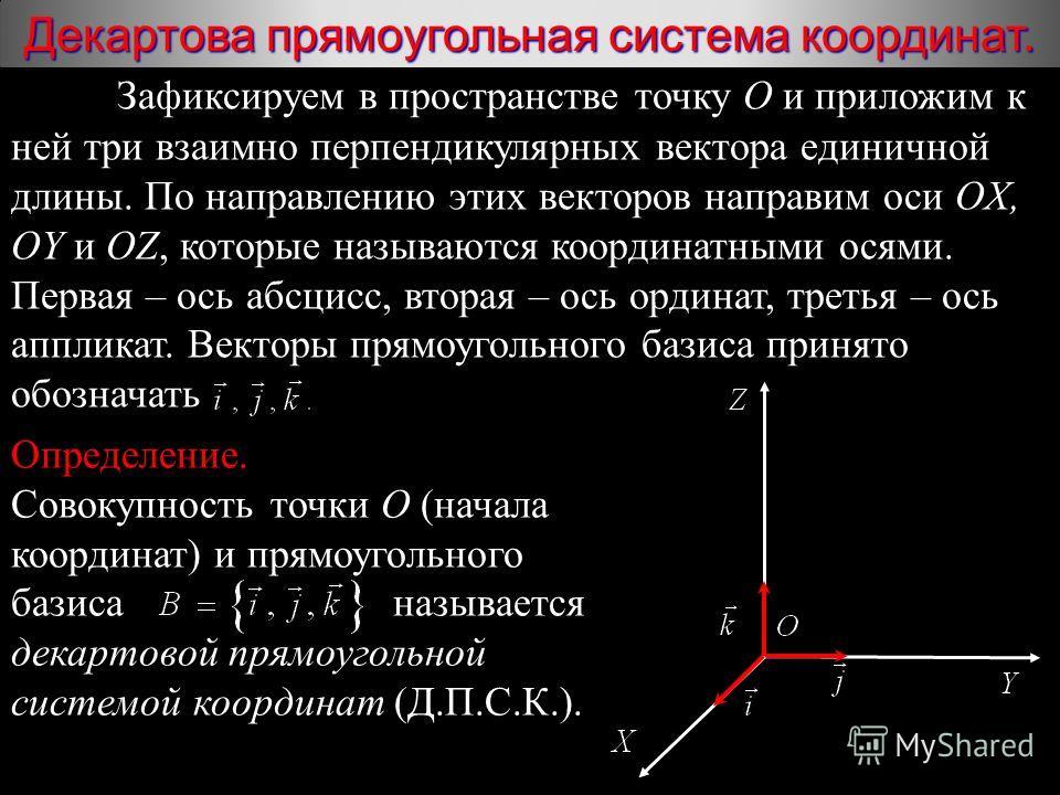 Зафиксируем в пространстве точку О и приложим к ней три взаимно перпендикулярных вектора единичной длины. По направлению этих векторов направим оси OX, OY и OZ, которые называются координатными осями. Первая – ось абсцисс, вторая – ось ординат, треть