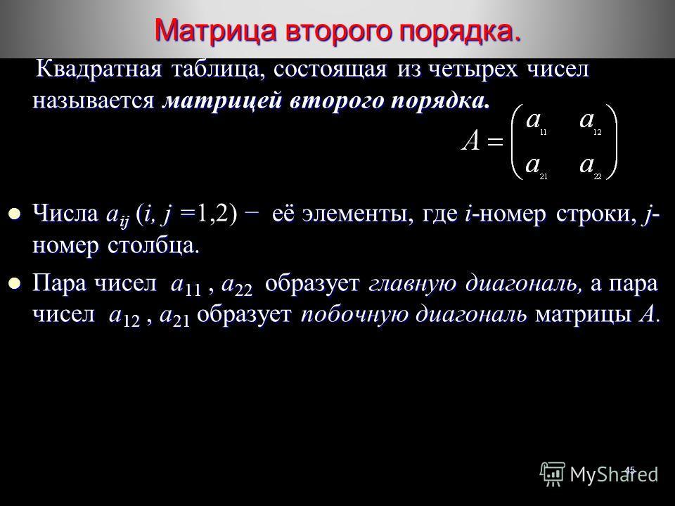 Матрица второго порядка. 45 Квадратная таблица, состоящая из четырех чисел называется матрицей второго порядка. Квадратная таблица, состоящая из четырех чисел называется матрицей второго порядка. Числа а ij (i, j = её элементы, где i-номер строки, j-