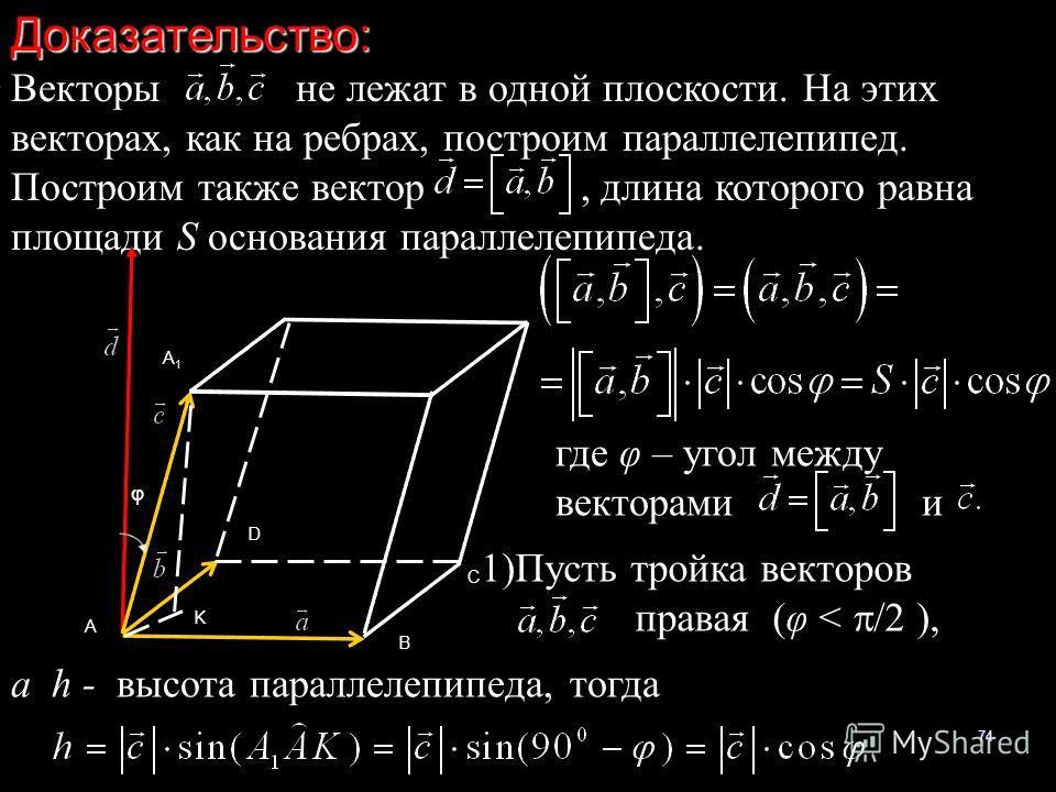 74Доказательство: Векторы не лежат в одной плоскости. На этих векторах, как на ребрах, построим параллелепипед. Построим также вектор, длина которого равна площади S основания параллелепипеда. A B C D A1A1 K φ где φ – угол между векторами и 1)Пусть т