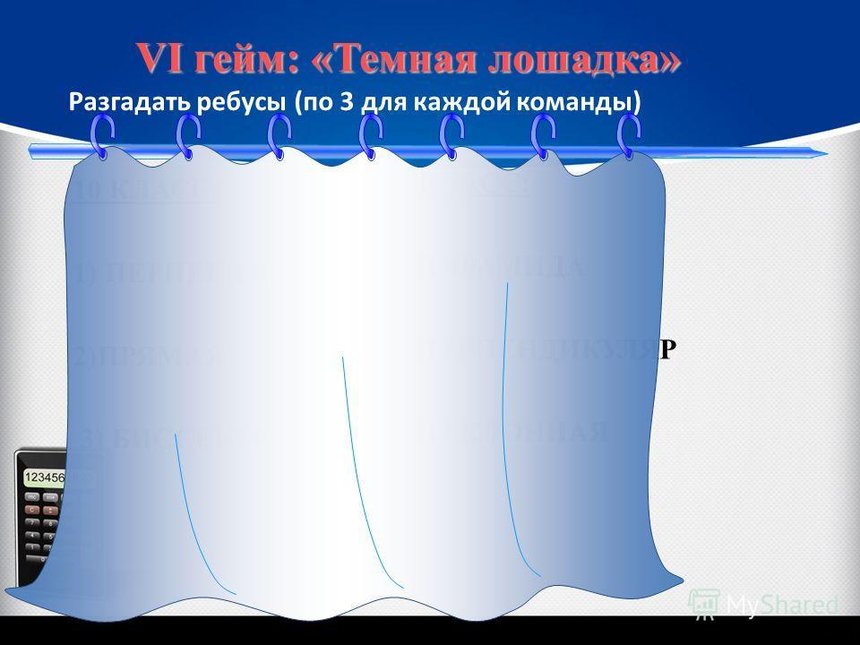 Разгадать ребусы (по 3 для каждой команды) VI гейм: «Темная лошадка» 10 КЛАСС: 1) ПЕРПЕНДИКУЛЯР 2)ПРЯМАЯ 3) БИССЕКТРИСА 11 КЛАСС: 1) ПИРАМИДА 2) ПЕРПЕНДИКУЛЯР 3) НАКЛОННАЯ