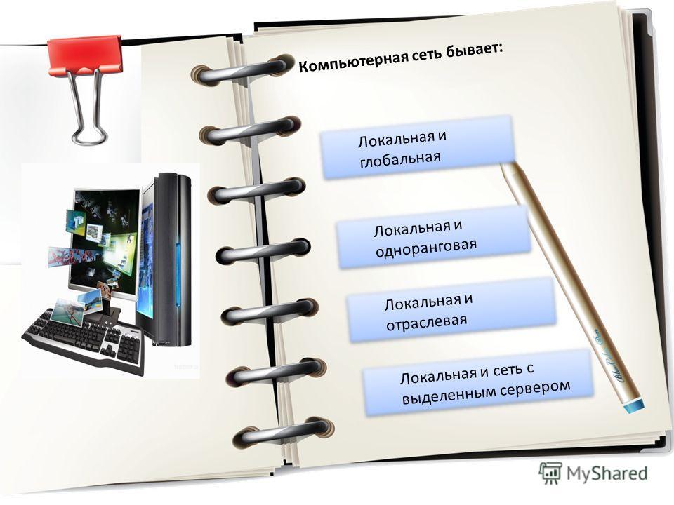 Локальная и глобальная Локальная и глобальная Локальная и одноранговая Локальная и одноранговая Локальная и отраслевая Локальная и отраслевая Локальная и сеть с выделенным сервером Локальная и сеть с выделенным сервером Компьютерная сеть бывает: