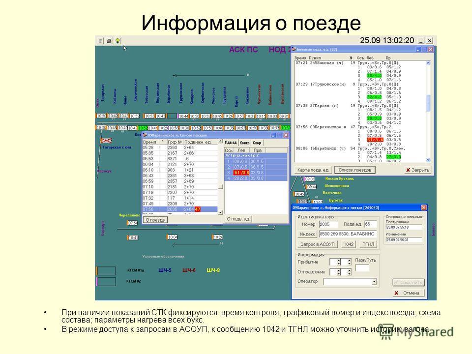 Информация о поезде При наличии показаний СТК фиксируются: время контроля; графиковый номер и индекс поезда; схема состава; параметры нагрева всех букс. В режиме доступа к запросам в АСОУП, к сообщению 1042 и ТГНЛ можно уточнить историю вагона
