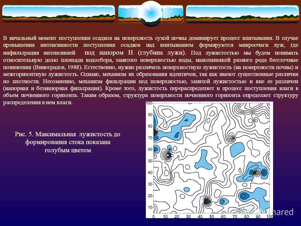 Рис. 4. Стоковые ячейки водосборной поверхности почвы (стрелками показано направление стока) На входе в систему - количество (мм), интенсивность поступления осадков (мл/сек) на поверхность почвы (м 2 ). Впитывание влаги (инфидьтрацион но- диффузионна