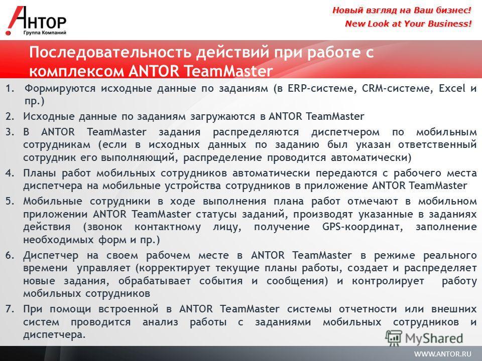 WWW.ANTOR.RU New Look at Your Business! Новый взгляд на Ваш бизнес! Последовательность действий при работе с комплексом ANTOR TeamMaster 1. Формируются исходные данные по заданиям (в ERP-системе, CRM-системе, Excel и пр.) 2. Исходные данные по задани