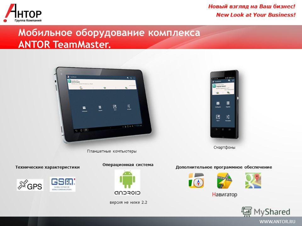 WWW.ANTOR.RU New Look at Your Business! Новый взгляд на Ваш бизнес! Мобильное оборудование комплекса ANTOR TeamMaster. версия не ниже 2.2 Операционная система Дополнительное программное обеспечение Планшетные компьютеры Смартфоны Технические характер