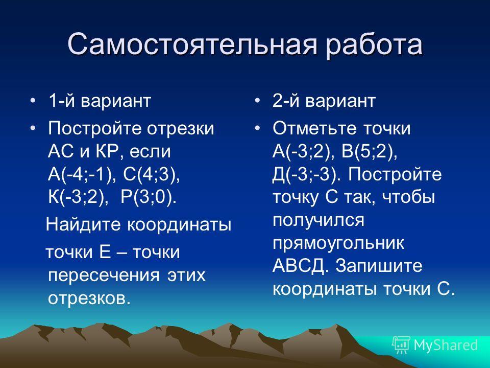Шестой этап восхождения (FK) – привал. Решите устно: Распределите точки по координатным углам и осям координат, не строя их в координатной плоскости: A(3;4), В(6;-8), С(0;5), Е(-8;- 6), О(0;0), К(6;0), М(- 5;6), Т(-4;-2), Н(0;3), Р(-15;-2), Д(5;2).