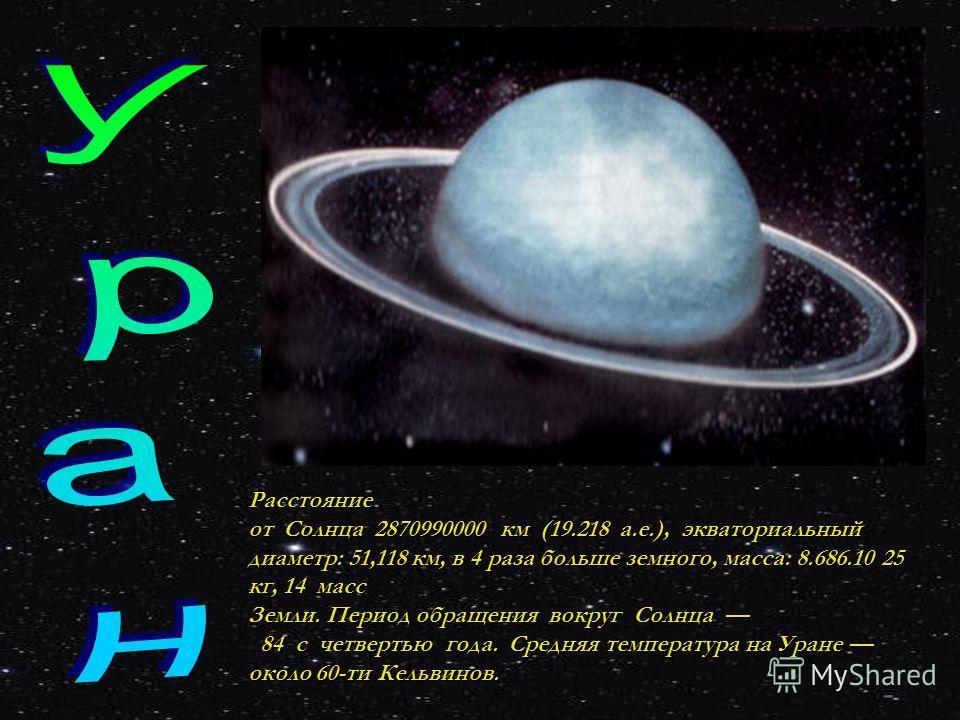 Расстояние от Солнца 2870990000 км (19.218 а.е.), экваториальный диаметр: 51,118 км, в 4 раза больше земного, масса: 8.686.10 25 кг, 14 масс Земли. Период обращения вокруг Солнца 84 с четвертью года. Средняя температура на Уране около 60-ти Кельвинов