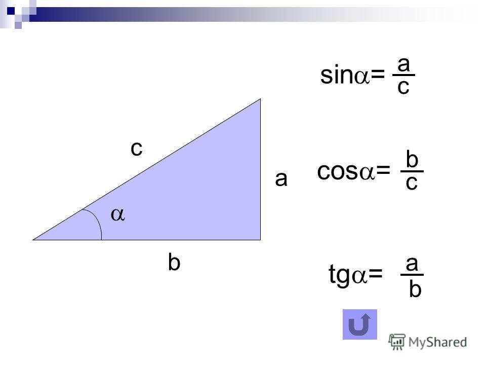 sin = a b c a c cos = b c tg = a b