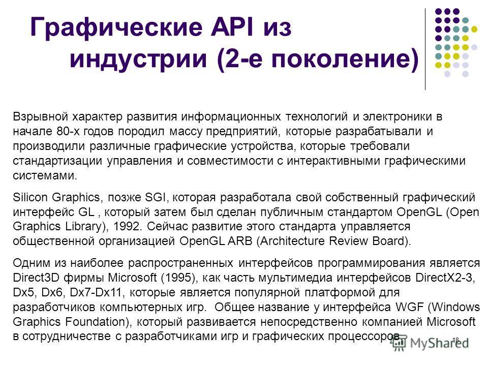 18 Графические API из индустрии (2-е поколение) Взрывной характер развития информационных технологий и электроники в начале 80-х годов породил массу предприятий, которые разрабатывали и производили различные графические устройства, которые требовали