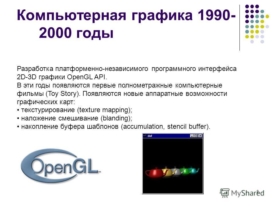 8 Компьютерная графика 1990- 2000 годы Разработка платформенно-независимого программного интерфейса 2D-3D графики OpenGL API. В эти годы появляются первые полнометражные компьютерные фильмы (Toy Story). Появляются новые аппаратные возможности графиче