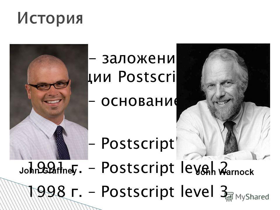 1976 г. - заложение концепции Postscript. 1982 г. – основание Adobe Systems 1984 г. – Postscript level 1 1991 г. – Postscript level 2 1998 г. – Postscript level 3 История John Graffney John Warnock