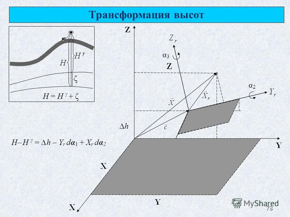 78 Трансформация высот ζ H = H γ + ζ α1α1 α2α2 α3α3 h H– H γ = h – Y r dα 1 + X r dα 2