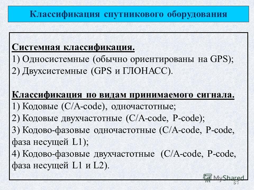 81 Классификация спутникового оборудования Системная классификация. 1) Односистемные (обычно ориентированы на GPS); 2) Двухсистемные (GPS и ГЛОНАСС). Классификация по видам принимаемого сигнала. 1) Кодовые (C/A-code), одночастотные; 2) Кодовые двухча