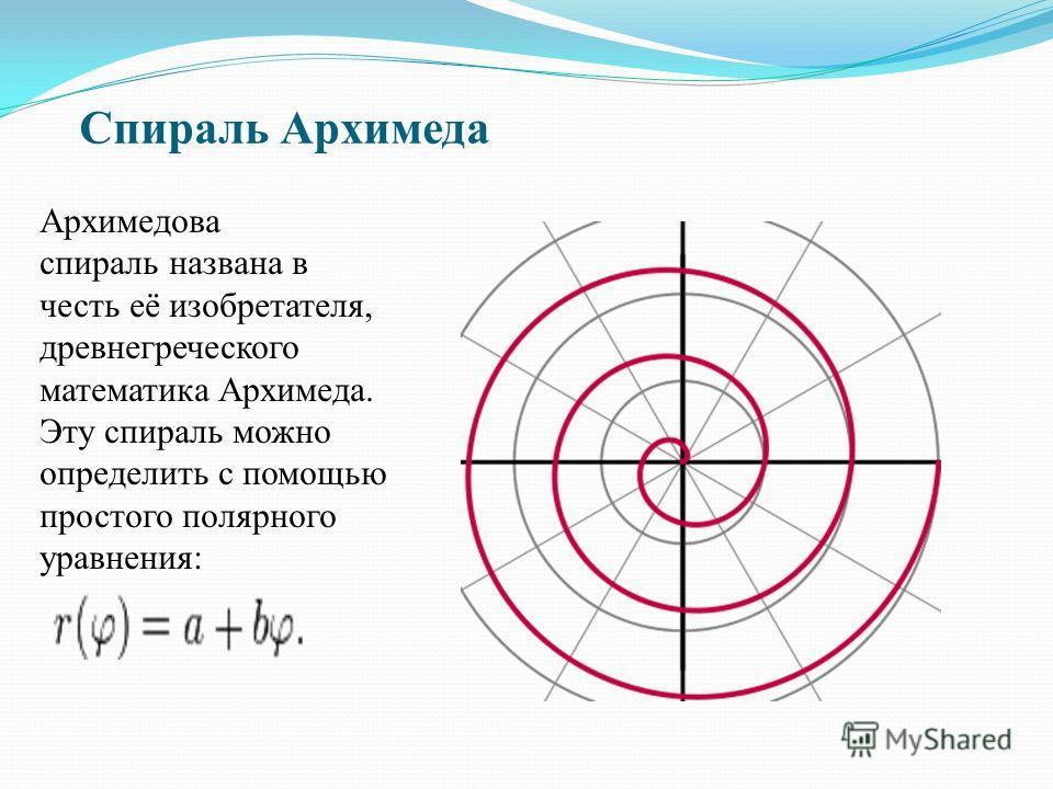 Спираль Архимеда Архимедова спираль названа в честь её изобретателя, древнегреческого математика Архимеда. Эту спираль можно определить с помощью простого полярного уравнения: