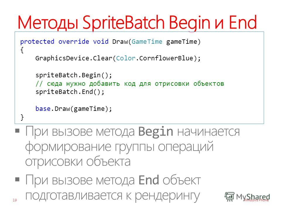 Windows Phone Методы SpriteBatch Begin и End protected override void Draw(GameTime gameTime) { GraphicsDevice.Clear(Color.CornflowerBlue); spriteBatch.Begin(); // сюда нужно добавить код для отрисовки объектов spriteBatch.End(); base.Draw(gameTime);