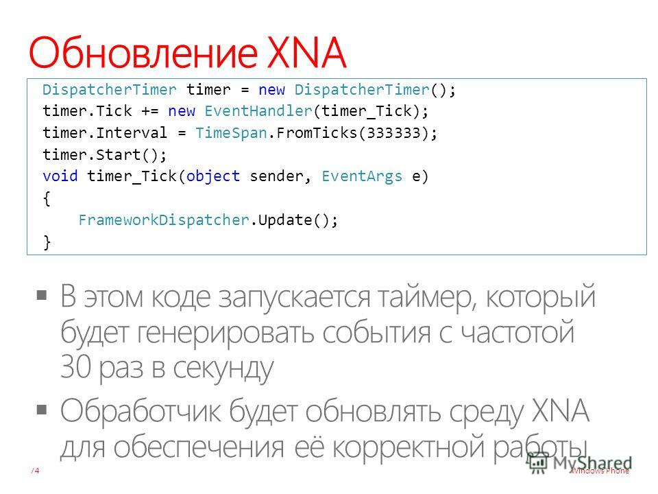 Windows Phone Обновление XNA 74 DispatcherTimer timer = new DispatcherTimer(); timer.Tick += new EventHandler(timer_Tick); timer.Interval = TimeSpan.FromTicks(333333); timer.Start(); void timer_Tick(object sender, EventArgs e) { FrameworkDispatcher.U