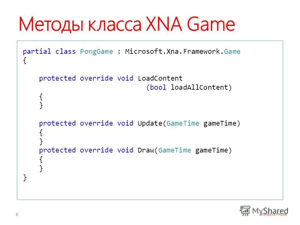 Windows Phone Методы класса XNA Game partial class PongGame : Microsoft.Xna.Framework.Game { protected override void LoadContent (bool loadAllContent) { } protected override void Update(GameTime gameTime) { } protected override void Draw(GameTime gam