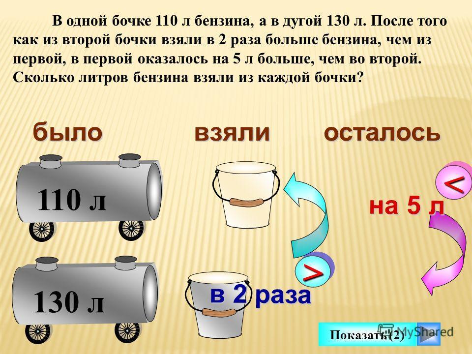 110 л 130 л В одной бочке 110 л бензина, а в дугой 130 л. После того как из второй бочки взяли в 2 раза больше бензина, чем из первой, в первой оказалось на 5 л больше, чем во второй. Сколько литров бензина взяли из каждой бочки ? >> в 2 раза быловзя