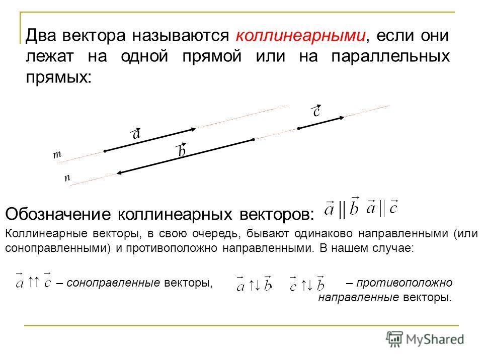 Два вектора называются коллинеарными, если они лежат на одной прямой или на параллельных прямых: Коллинеарные векторы, в свою очередь, бывают одинаково направленными (или соноправленными) и противоположно направленными. В нашем случае: – соноправленн