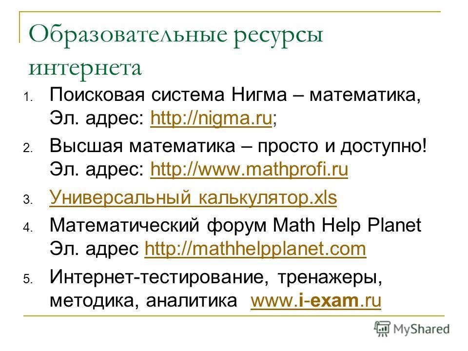 Образовательные ресурсы интернета 1. Поисковая система Нигма – математика, Эл. адрес: http://nigma.ru;http://nigma.ru 2. Высшая математика – просто и доступно! Эл. адрес: http://www.mathprofi.ruhttp://www.mathprofi.ru 3. Универсальный калькулятор.xls