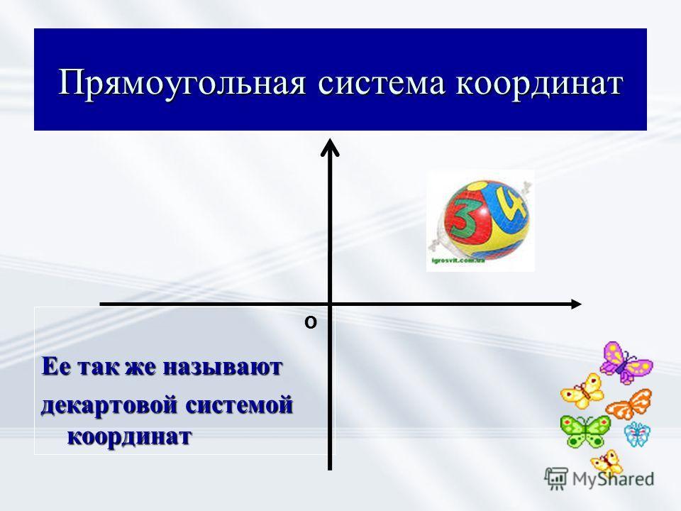 Прямоугольная система координат Ее так же называют декартовой системой координат О