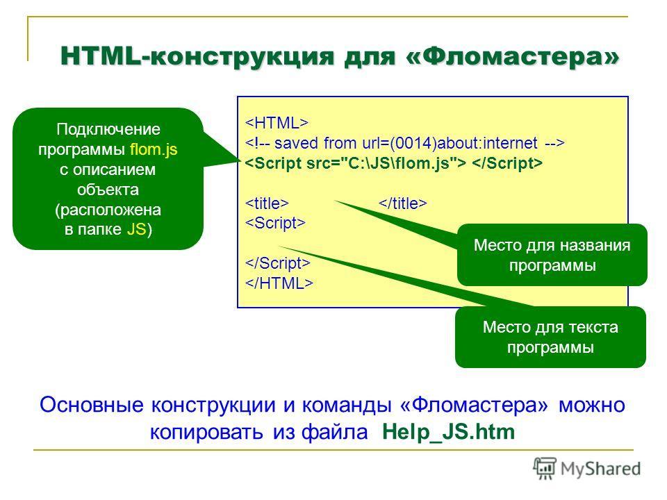 HTML-конструкция для «Фломастера» Подключение программы flom.js с описанием объекта (расположена в папке JS) Место для названия программы Место для текста программы Основные конструкции и команды «Фломастера» можно копировать из файла Help_JS.htm