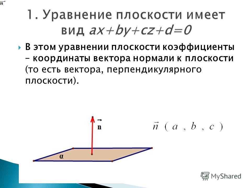 В этом уравнении плоскости коэффициенты – координаты вектора нормали к плоскости (то есть вектора, перпендикулярного плоскости).