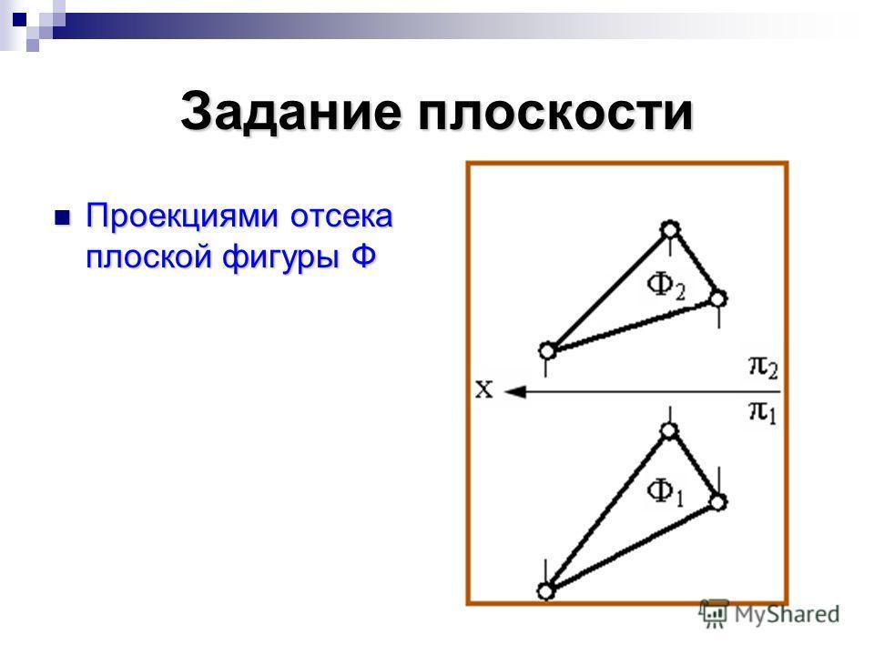 Задание плоскости Проекциями отсека плоской фигуры Ф Проекциями отсека плоской фигуры Ф