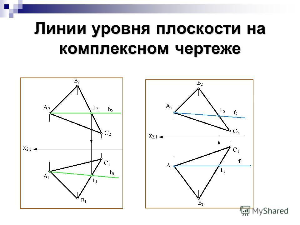 Линии уровня плоскости на комплексном чертеже