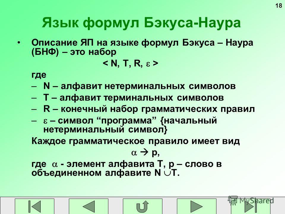 18 Язык формул Бэкуса-Наура Описание ЯП на языке формул Бэкуса – Наура (БНФ) – это набор где –N – алфавит нетерминальных символов –T – алфавит терминальных символов –R – конечный набор грамматических правил – – символ программа {начальный нетерминаль