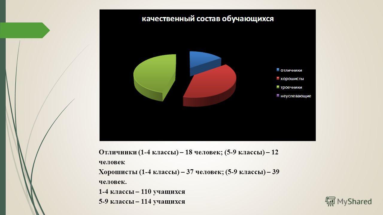 Отличники (1-4 классы) – 18 человек; (5-9 классы) – 12 человек Хорошисты (1-4 классы) – 37 человек; (5-9 классы) – 39 человек. 1-4 классы – 110 учащихся 5-9 классы – 114 учащихся