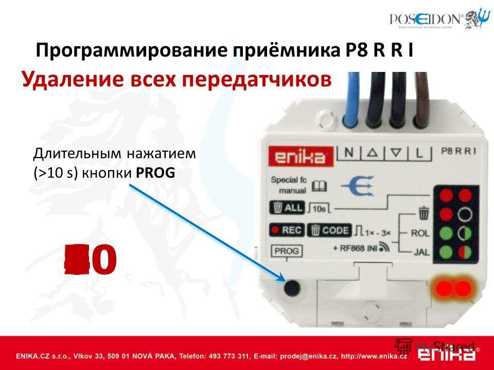 Программирование приёмника P8 R R I Удаление всех передатчиков Длительным нажатием (>10 s) кнопки PROG 12345789106